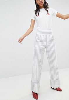 Lost Ink Trouser With Wide Leg And Turn Ups In Stripe-Grey