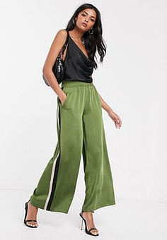 Lost Ink wide leg satin trousers with side stripes-Green