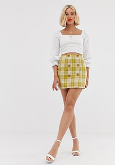 Love button front check skirt-Yellow
