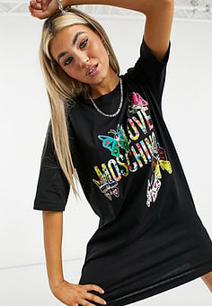 Love Moschino butterfly print t-shirt dress in black