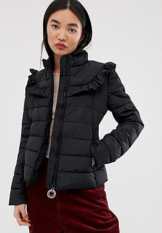 Love Moschino Frill Quilted Jacket with Circle Branded Zip Puller-Black