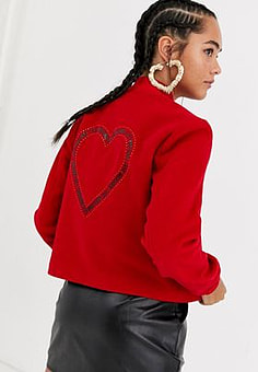 Love Moschino glitter heart wool blend bomber jacket-Red