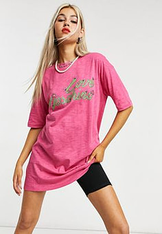 Love Moschino logo t-shirt dress in pink