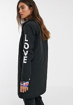 Love Moschino peace and love swing coat-Black