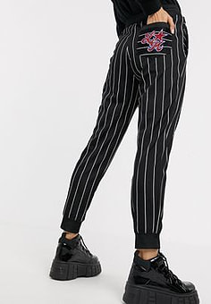 Love Moschino star embroidered logo stripe joggers-Black