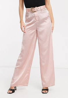 Love & Other Things belted satin wide leg trousers in light pink