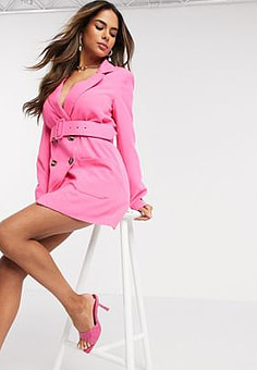 Love & Other Things belted suit blazer in fuschia-Pink