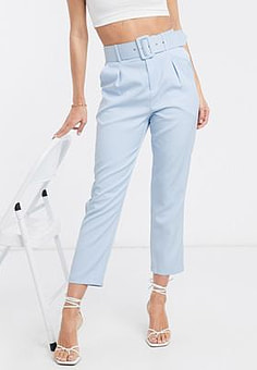 Love & Other Things belted suit trousers in light blue