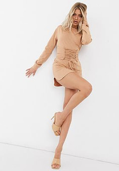 Love & Other Things lace up sweatshirt dress in camel-Brown