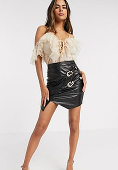 Love & Other Things PU buckle detail mini skirt in black