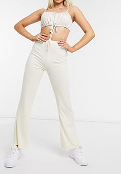 Love & Other Things ribbed flared trousers in cream-Tan