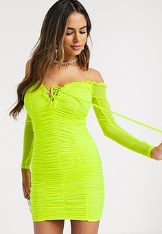 Love & Other Things ruched lace up mini dress in neon green