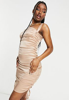 Love & Other Things ruched tie side satin mini dress in gold