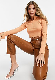 Love & Other Things sporty zip front crop top in coral-Brown