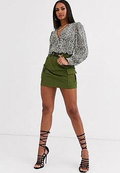 Love & Other Things utility mini skirt in green
