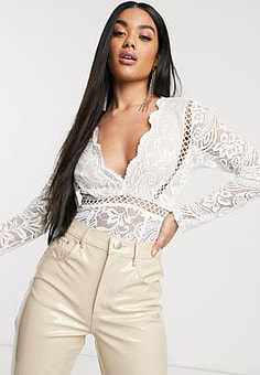 Love Triangle plunge front scallop edge body with tassel detail and lace insert in white