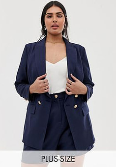 Lovedrobe double breast blazer co-ord with button detail in navy-White