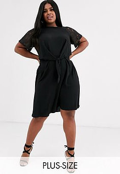 Lovedrobe Lace Sleeve Dress With Knot Front-Black