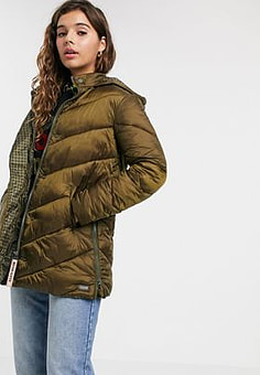 Maison Scotch longline padded jacket with hood-Green