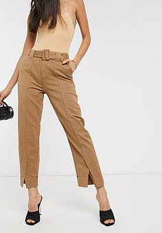 Maison Scotch tailored belted chino trousers-Brown