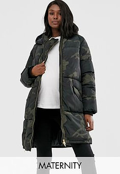 Mama.licious Mamalicious Maternity 2 in 1 padded jacket with post birth functionality in green camo-Multi