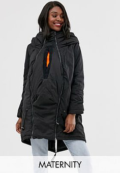 Mama.licious Mamalicious maternity 3 in 1 post functionality padded coat in black