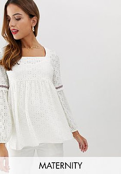 Mama.licious Mamalicious maternity broderie square neck smock top-White