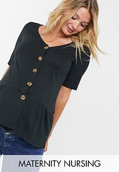 Mama.licious Mamalicious Maternity button through peplum top with nursing function in black