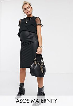 Mama.licious Mamalicious maternity coated leather look skirt in black