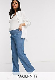 Mama.licious Mamalicious Maternity denim trousers with wide leg in blue