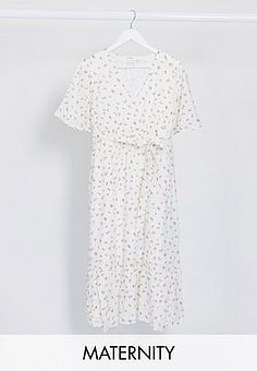 Mama.licious Mamalicious Maternity midi dress with v neck and drop hem in white ditsy floral-Multi