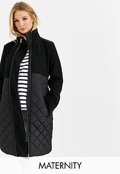 Mama.licious Mamalicious Maternity quilted coat with post birth functionality in black