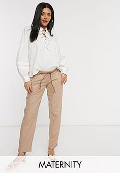 Mama.licious Mamalicious Maternity under the bump trousers in beige