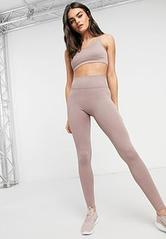 Mango activewear seamless ribbed leggings co-ord in dusky pink-Blue