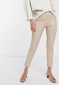 Mango button detail faux leather slim trousers in beige