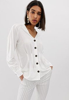 Mango button front blouse-Beige