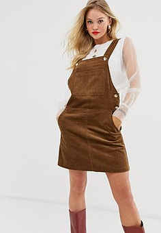 Mango cord pinny dress in brown