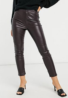 Mango faux leather skinny trousers in burgundy-Red