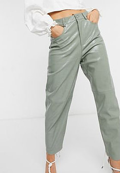 Mango faux leather trousers in green