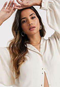 Mango frill collar blouse with back detail in ecru-White