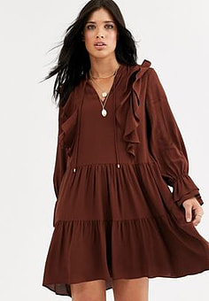 Mango frill detail mini smock dress in rust-Red