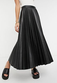Mango pleated faux leather midi skirt in black
