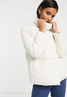 Mango short padded jacket with mittens in cream