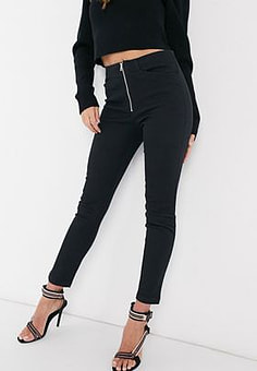 Mango skinny trousers with zip detail in black