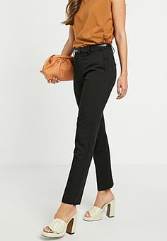 Mango tailored trousers with belt in black