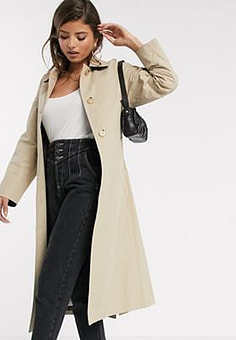 Mango trench coat with back detail in camel-Neutral