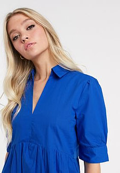 Mango v neck poplin smock dress in blue