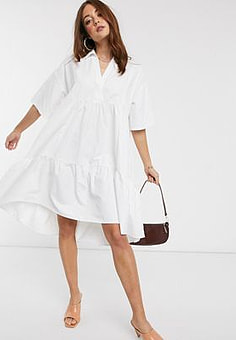 Mango v neck poplin smock dress in white
