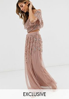 Maya all over embellished maxi skirt in mauve-Purple