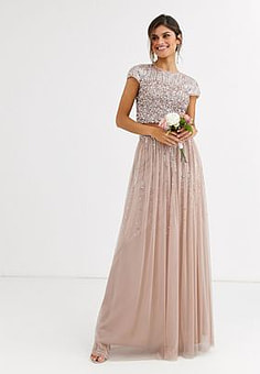 Maya Bridesmaid delicate sequin tulle skirt co ord in taupe-Brown